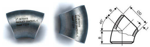 stainless steel 45° elbow Dimensions