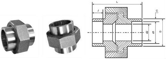 Socket weld Union Dimensions